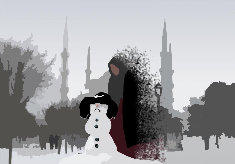 Manusia Salju di Bukit Çamlıca